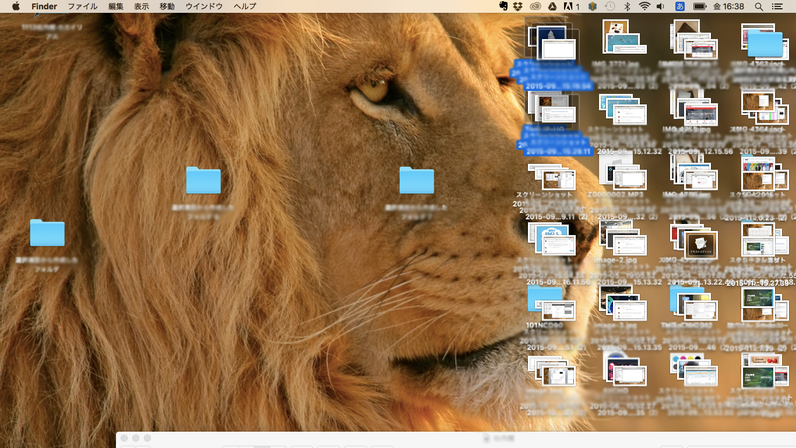 左側がきれいになっていますが、本当はモニター全体がファイルに覆われていました..。