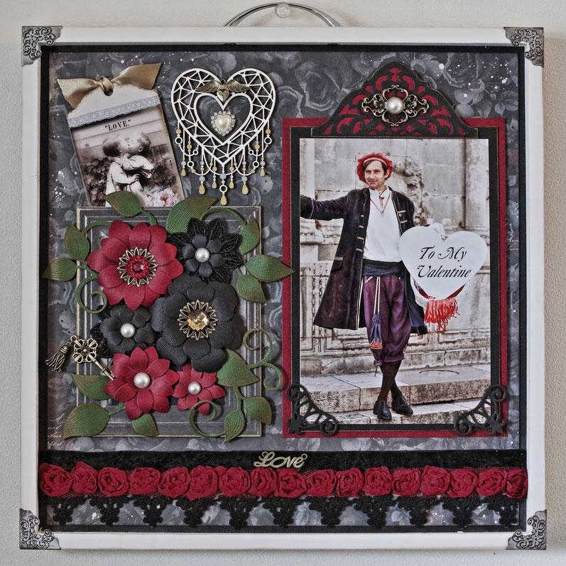 2月銀座ソレイユセミナー作品です。赤と黒の大人なバレンタイン作品を作りました。 写真はクロアチア/ドブロクニクで撮影した素敵な騎士さんです。編集でTo My Valentineの文字を入れています。