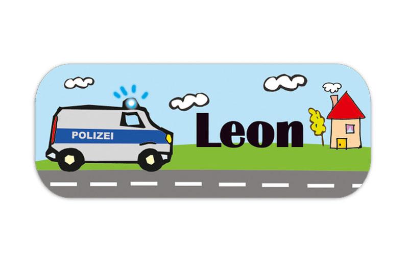 eckige Namensaufkleber, Motiv: Polizeiauto, hochwertige, umweltfreundliche PVC-freie Folie