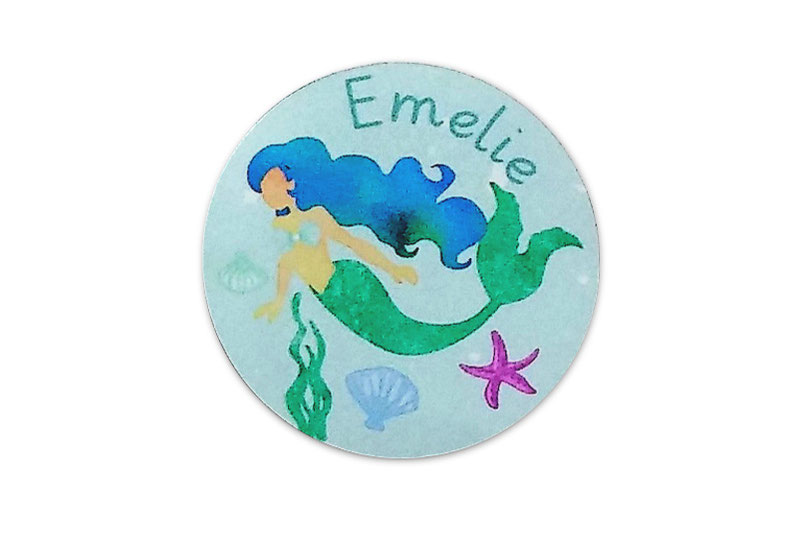 runde Silbermetallic Namensaufkleber: Meerjungfrau