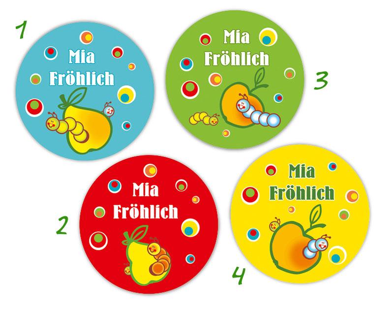 runde Namensaufkleber, Motiv: kleine Raupen in Birnen, Äpfeln und lustigen bunten Punkten,  hochwertige, umweltfreundliche PVC-freie Folie