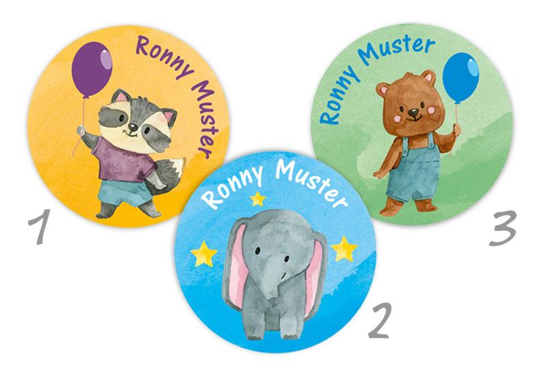 runde Namensaufkleber, Motiv: Waschbär & Bär mit Luftballon, Elefant mit Sternchen, hochwertige, umweltfreundliche PVC-freie Folie