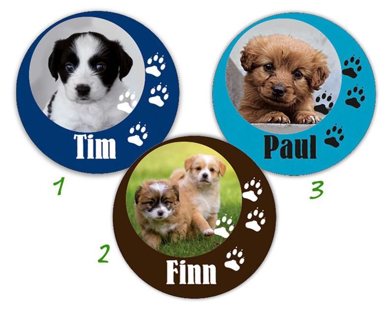 runde Namensaufkleber, Motiv: Tierbabys Hund,  hochwertige, umweltfreundliche PVC-freie Folie