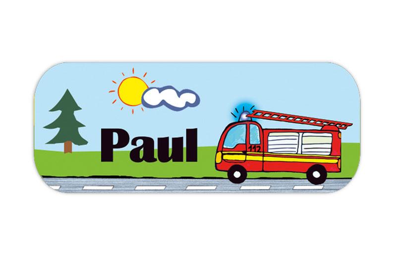 eckige Namensaufkleber, Motiv: Feuerwehrauto, hochwertige, umweltfreundliche PVC-freie Folie