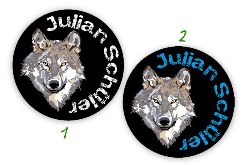 runde Namensaufkleber, Motiv: Wolf,  hochwertige, umweltfreundliche PVC-freie Folie