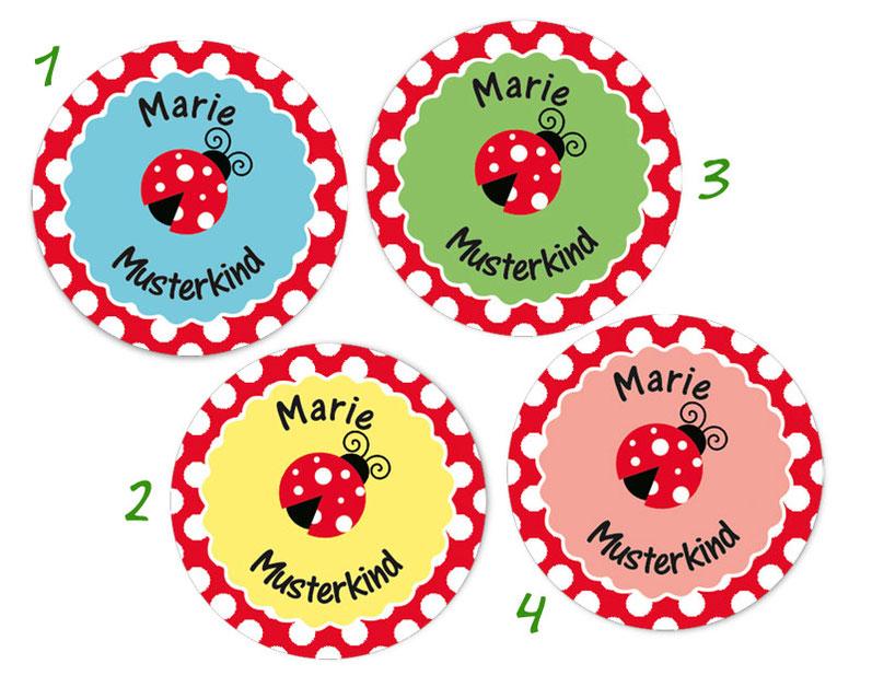 runde Namensaufkleber, Motiv: Marienkäfer, hochwertige, umweltfreundliche PVC-freie Folie