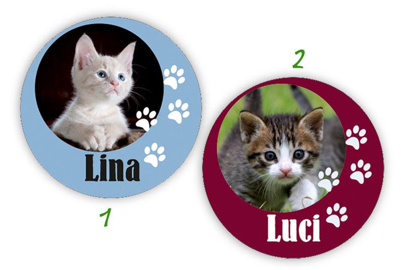 runde Namensaufkleber, Motiv: Tierbabys Katzen,  hochwertige, umweltfreundliche PVC-freie Folie