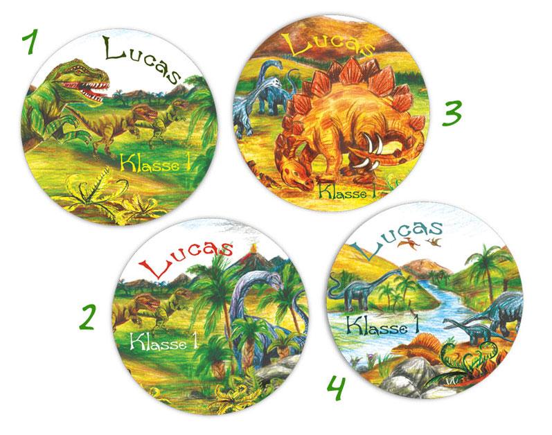 runde Namensaufkleber, Motiv: Urzeit Dinos - T-Rex, Langhals, Stegosaurus, Original Motive handgemalt mit Buntstiften,  hochwertige, umweltfreundliche PVC-freie Folie
