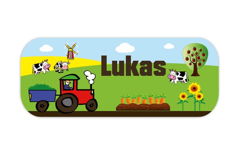 eckige Namensaufkleber, Motiv: Traktor mit Anhänger, Sonnenblumen, Kühen, Windmühle, Bauernhof, hochwertige, umweltfreundliche PVC-freie Folie