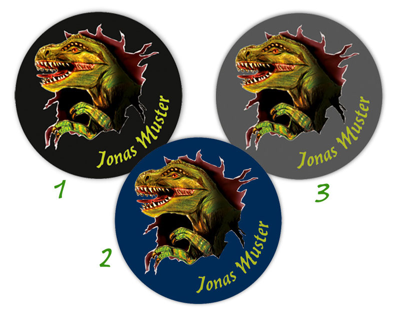 runde Namensaufkleber, Motiv: T-Rex,  hochwertige, umweltfreundliche PVC-freie Folie
