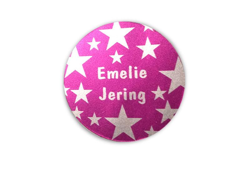 runde Silbermetallic Namensaufkleber: Sterne pink