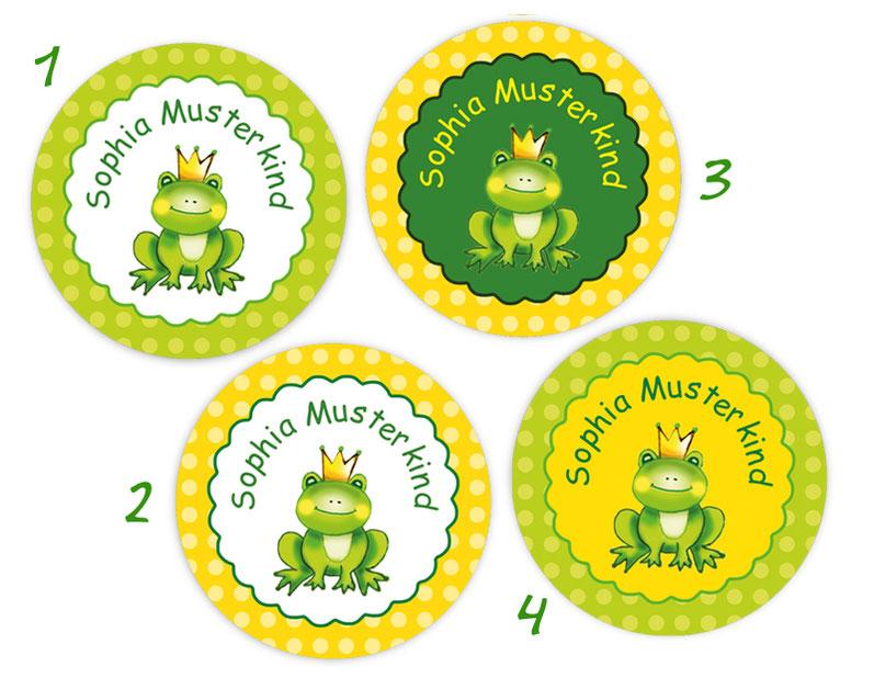 runde Namensaufkleber, Motiv: Froschkönig, hochwertige, umweltfreundliche PVC-freie Folie