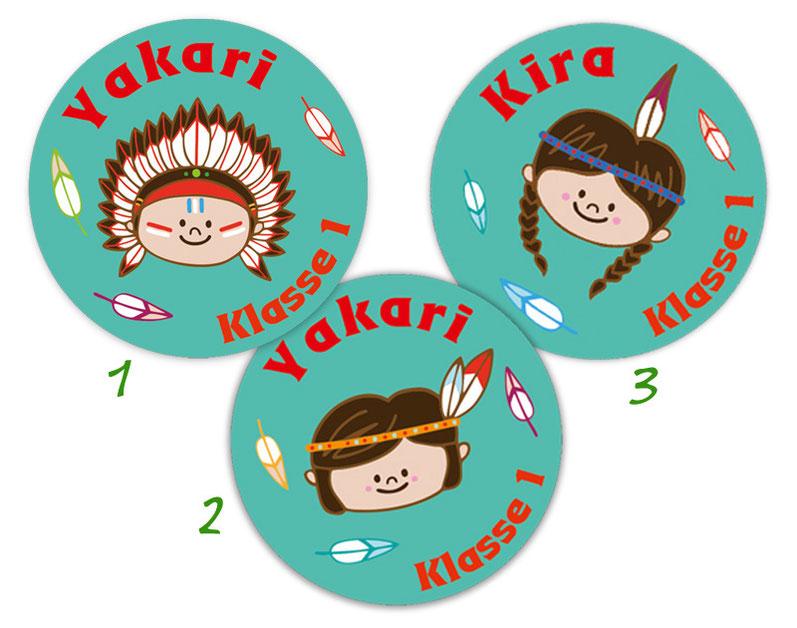 runde Namensaufkleber, Motiv: Indianer Kinder,  hochwertige, umweltfreundliche PVC-freie Folie