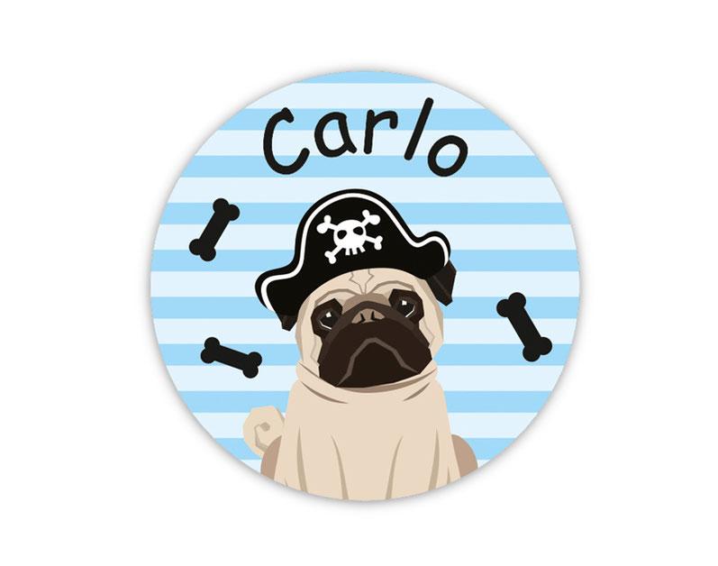runde Namensaufkleber, Motiv: Mops Pirat,  Hund,  hochwertige, umweltfreundliche PVC-freie Folie