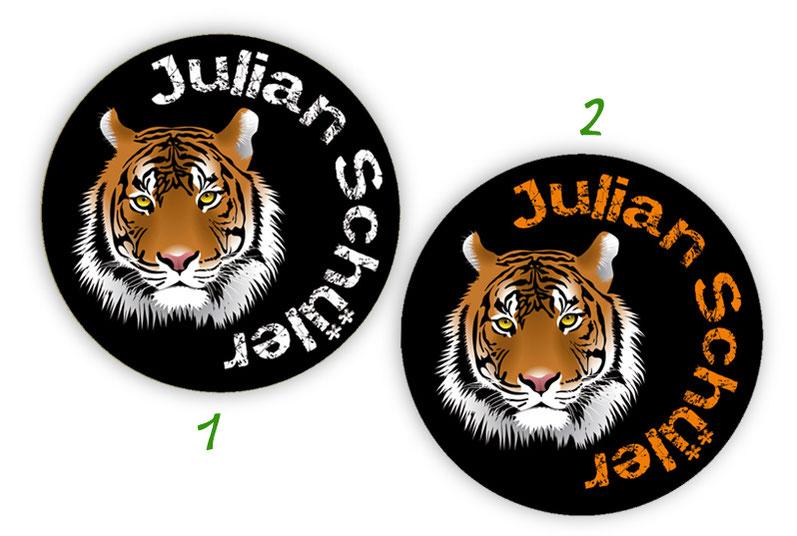 runde Namensaufkleber, Motiv: Tiger,  hochwertige, umweltfreundliche PVC-freie Folie