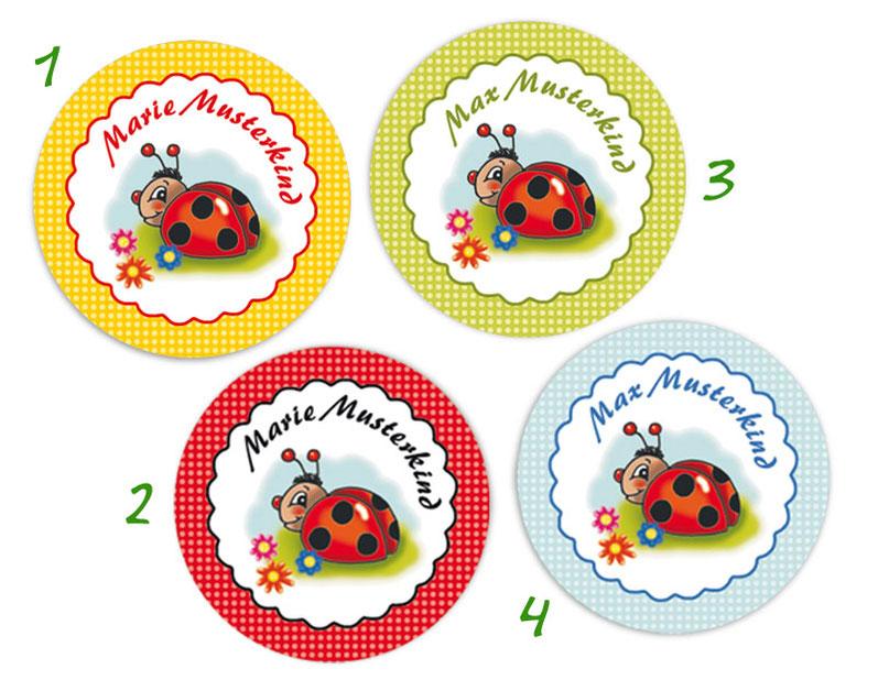 runde Namensaufkleber, Motiv: Marienkäferchen mit Blümchen, hochwertige, umweltfreundliche PVC-freie Folie