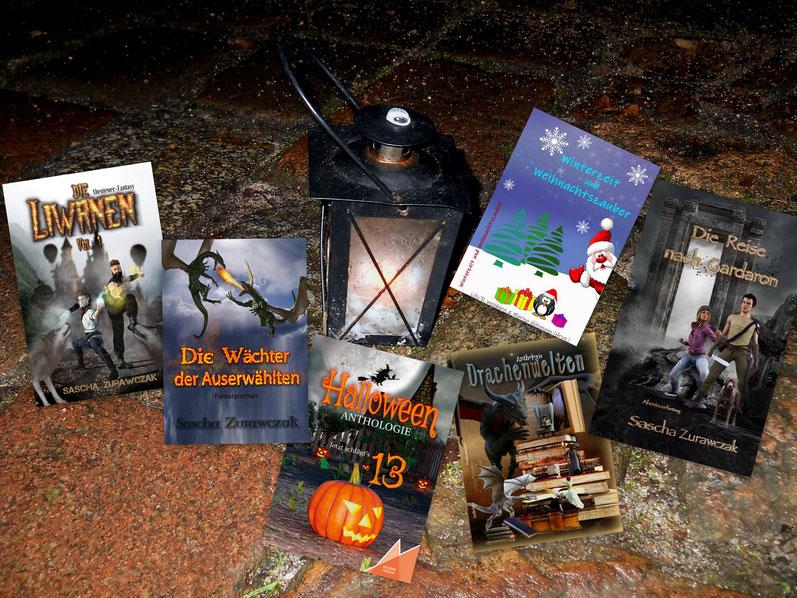 Romane im Genre Abenteuer Fantasy und verschiedene Kurzgeschichten in Anthologien