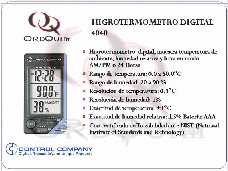 HIGROTERMOMETRO DIGITAL CONTROL COMPANY MOD. 4040