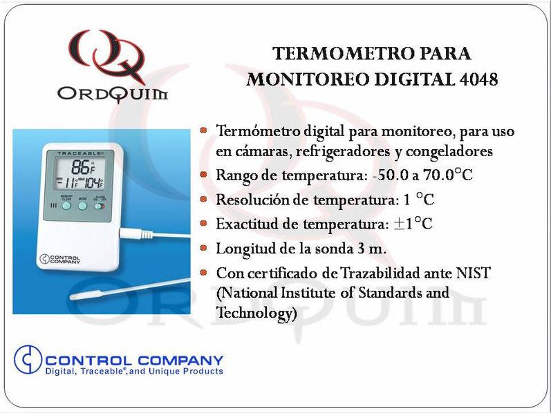 TERMÓMETRO PARA MONITOREO DE REFRIGERADOR Y CONGELADOR CONTROL COMPANY MOD. 4048