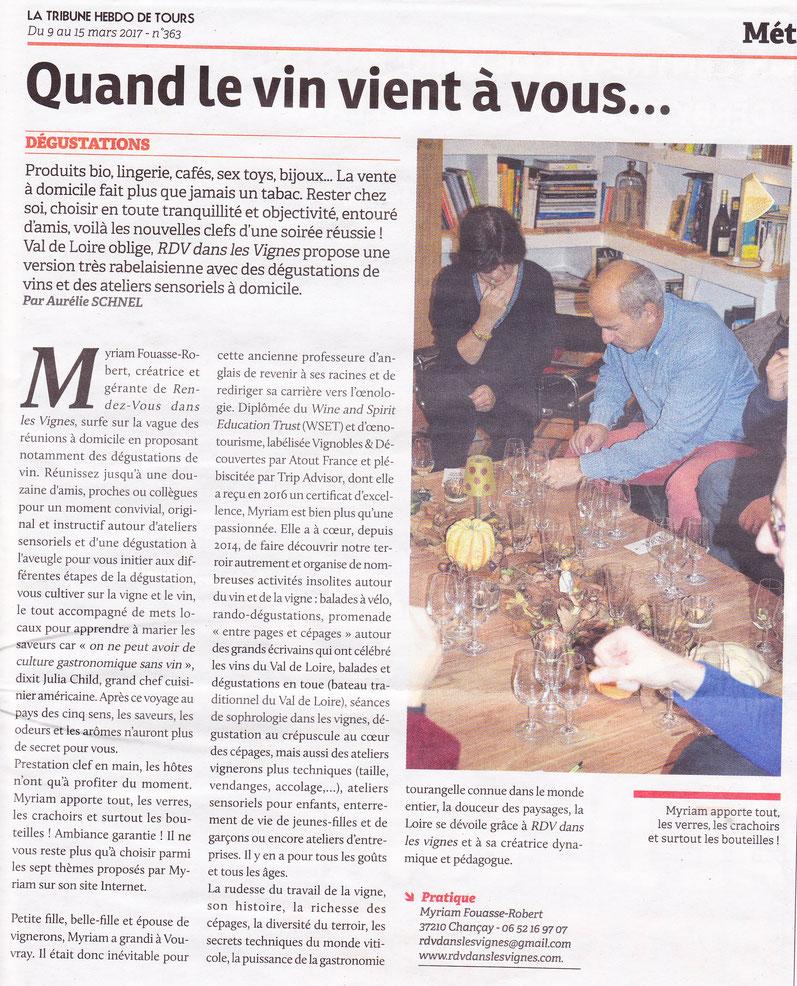 article-tribune-hebdo-Tours-degustation-oenologie-vin-a-domicile-Touraine-Tours-Amboise-Vouvray-Vallee-Loire-Rendez-Vous-dans-les-Vignes-Myriam-Fouasse-Robert