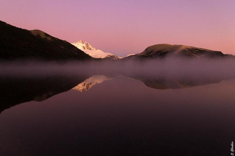Sonnenaufgang an der Laguna Ilon, Cerro Tronador