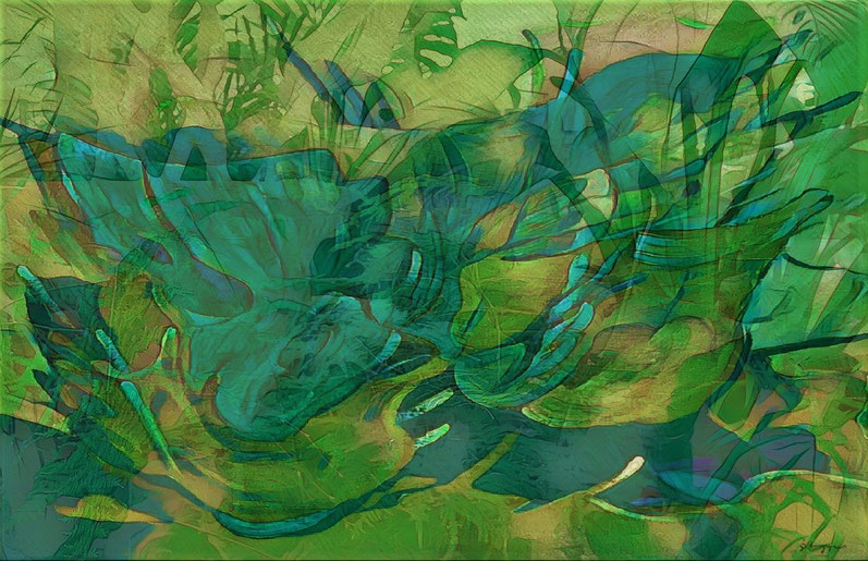 Forever blue and green - Mixed media studie