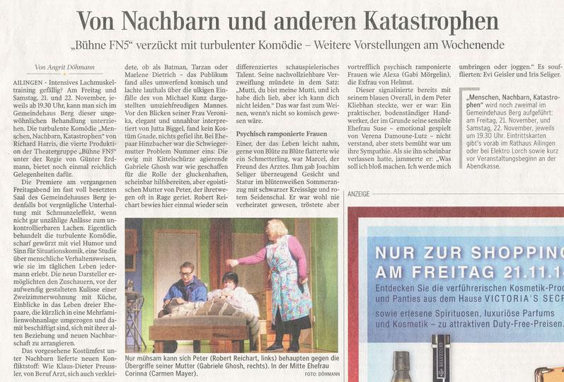 Premierenbericht Schwäbische Zeitung vom 17.11.2014
