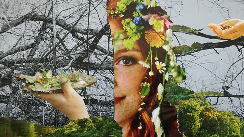 Collage Frühling, Künstlerin, Bloggerin und Impulsgeberin in Berlin. Lieber glücklich von A bis Z #Collage
