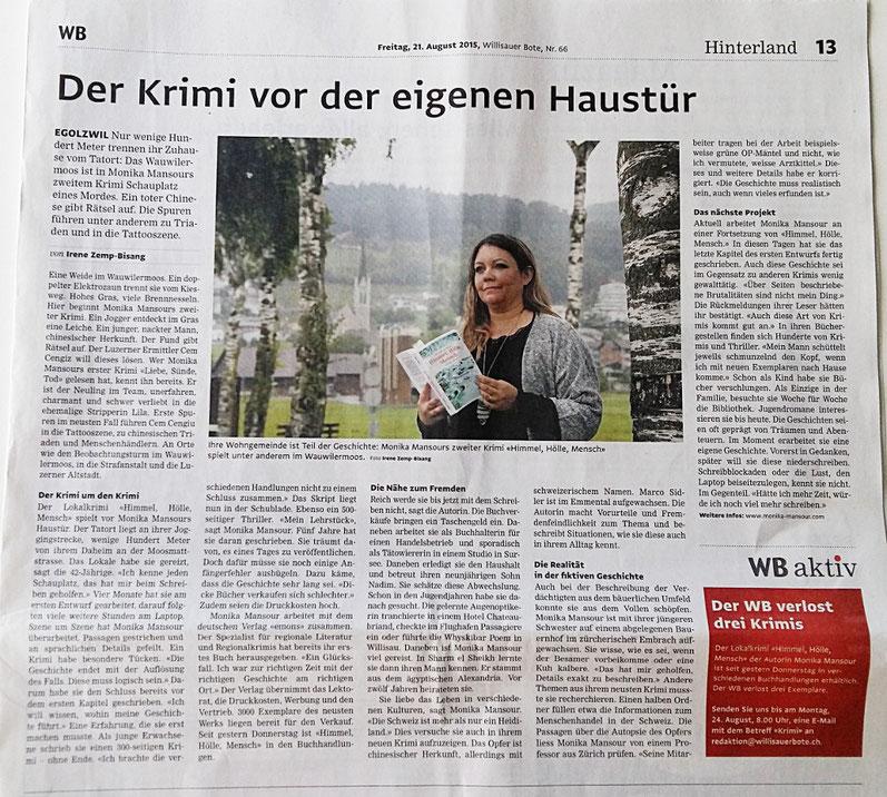 Himmel Hölle Mensch Buch Krimi Monika Mansour Wauwilermoos