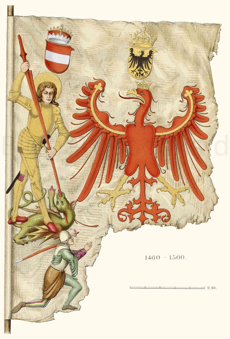 Fragment einer Zunftfahne der Bergleute von Tirol, jetzt in dem Bayerischen Nationalmuseum.