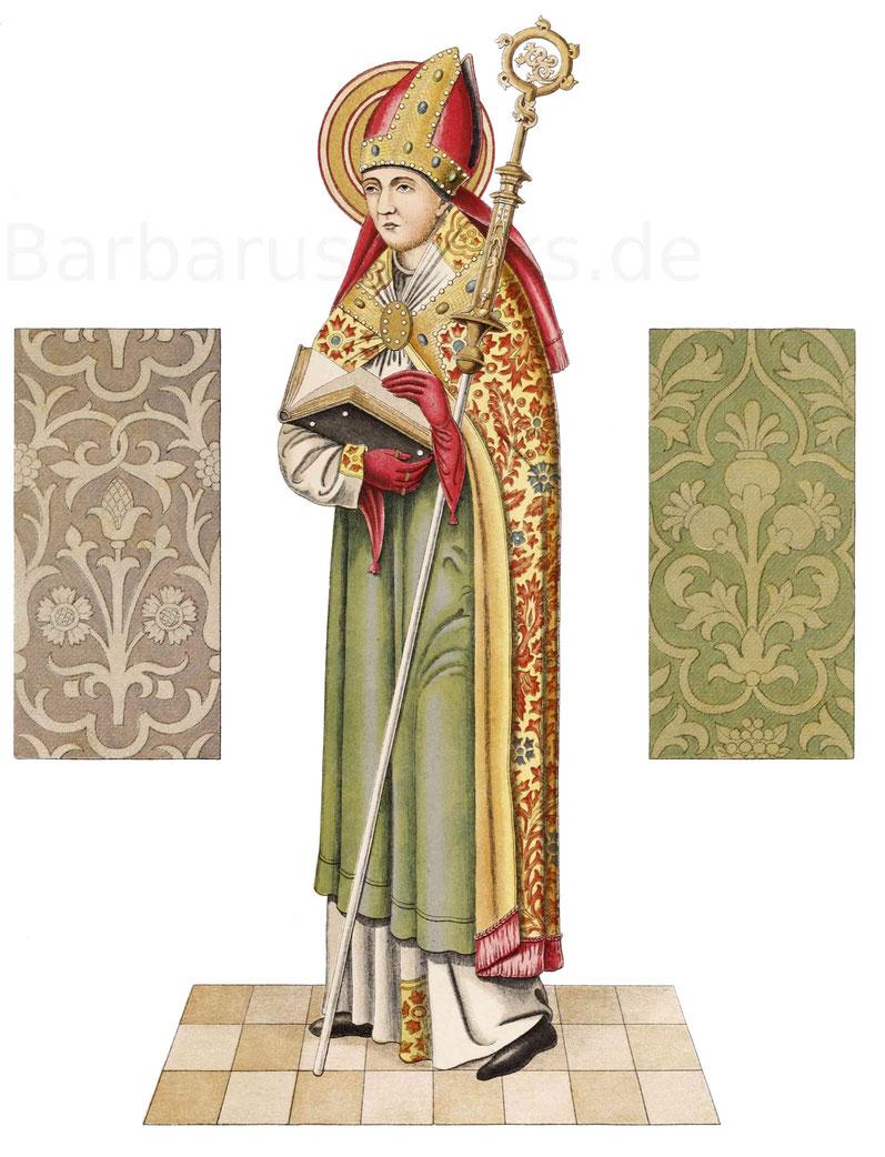 Bischof aus der zweiten Hälfte des 15. Jahrhunderts, gezeichnet nach einem Ölgemälde jener Zeit von dessen Besitzerin Susanna Hoffstadt.