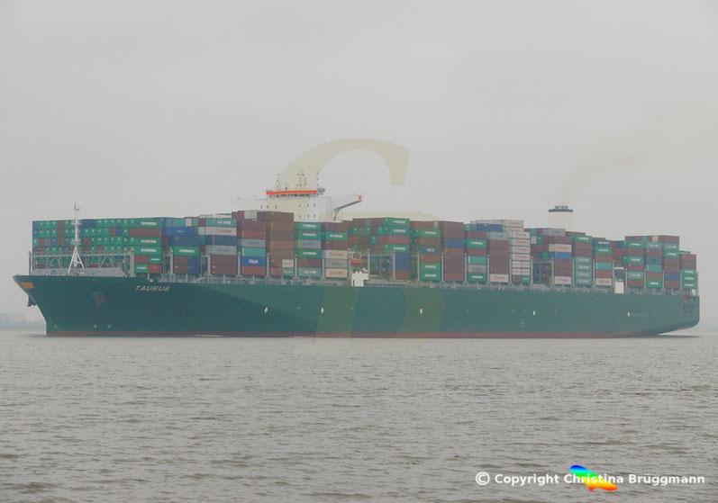 """Containerschiff """"TAURUS"""" auf der Elbe 29.03.2017"""