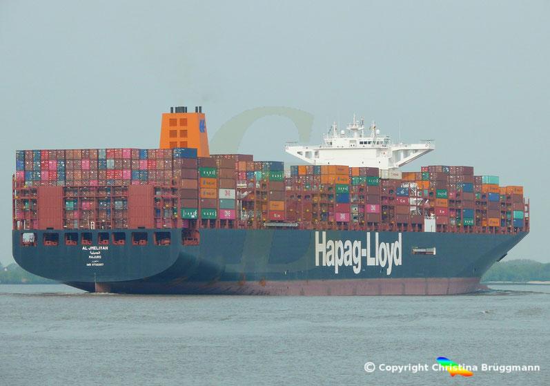 Containerschiff AL JMELIYAH auf der Elbe 08.05.2019
