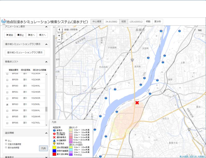 淀川の浸水シュミレーション