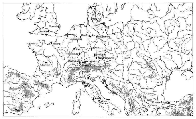 Carte 1  - Distribution des reliques du Saint Sang avant 1204