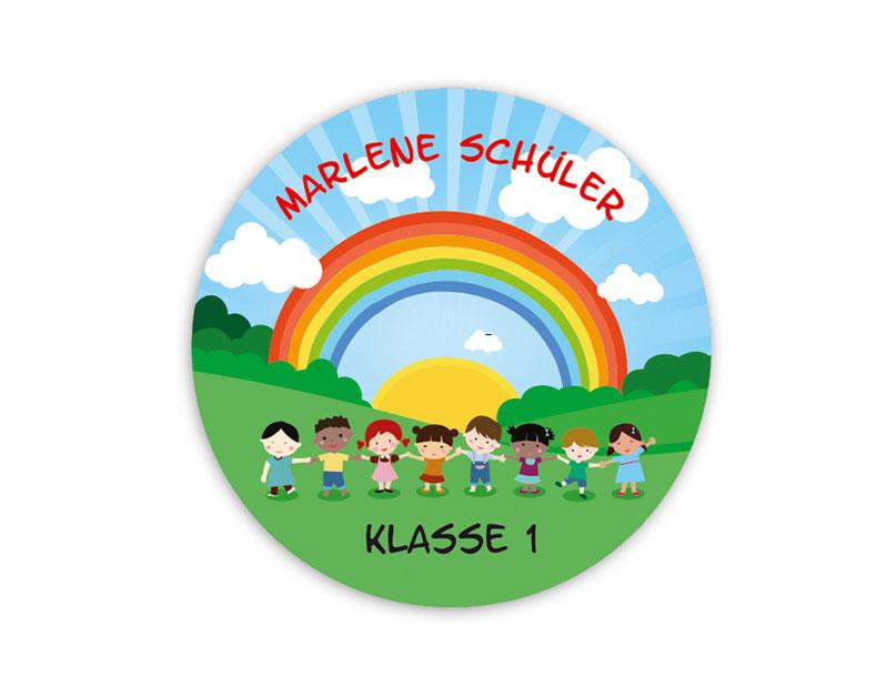 runde Namensaufkleber - Motiv: Kinder der Welt  - hochwertige, umweltfreundliche PVC-freie Folie