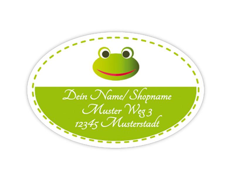 ovale Adressaufkleber mit Frosch, auf umweltfreundlichen PVC-freien selbstklebenden Papier, wasserfest