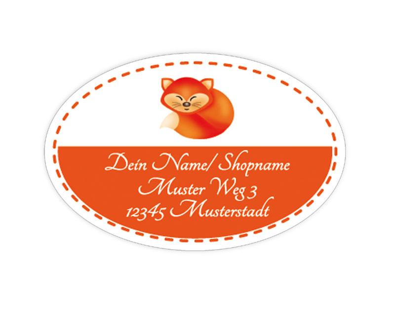 ovale Adressaufkleber mit Fuchs, auf umweltfreundlichen PVC-freien selbstklebenden Papier, wasserfest