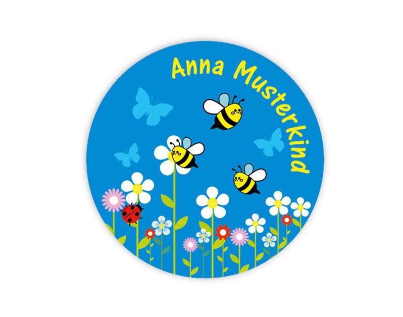 runde Namensaufkleber - Motiv: Bienchen und Blumen - hochwertige, umweltfreundliche PVC-freie Folie