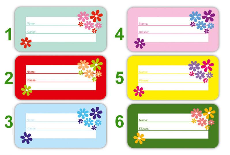 Heftaufkleber zum selber beschriften - Motiv: Blumen - hochwertige, umweltfreundliche PVC-freie Folie