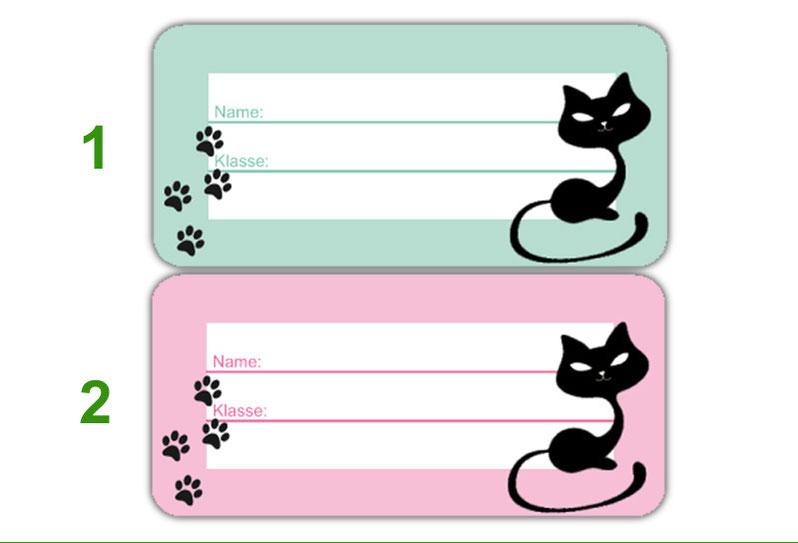 Heftaufkleber zum selber beschriften - Motiv: Katze - hochwertige, umweltfreundliche PVC-freie Folie
