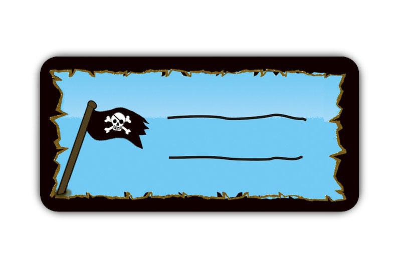 Heftaufkleber zum selber beschriften - Motiv: Piratenflagge - hochwertige, umweltfreundliche PVC-freie Folie