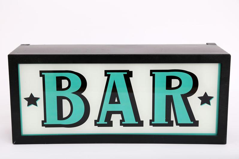 Bar Retro Leuchtschild Vintage Lightbox Nostalgie Leuchtkasten Vintage Leuchtdisplay als Wanddekoration für Bars aus Metall und Glas