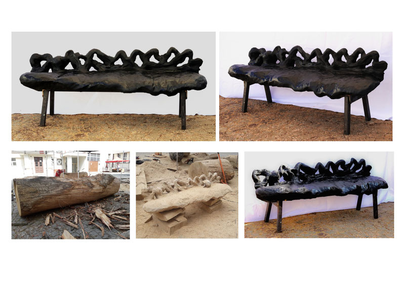 art in public space #mladaBoleslav #artinpublicspace #woodbench #chainsawchic #chainsawart