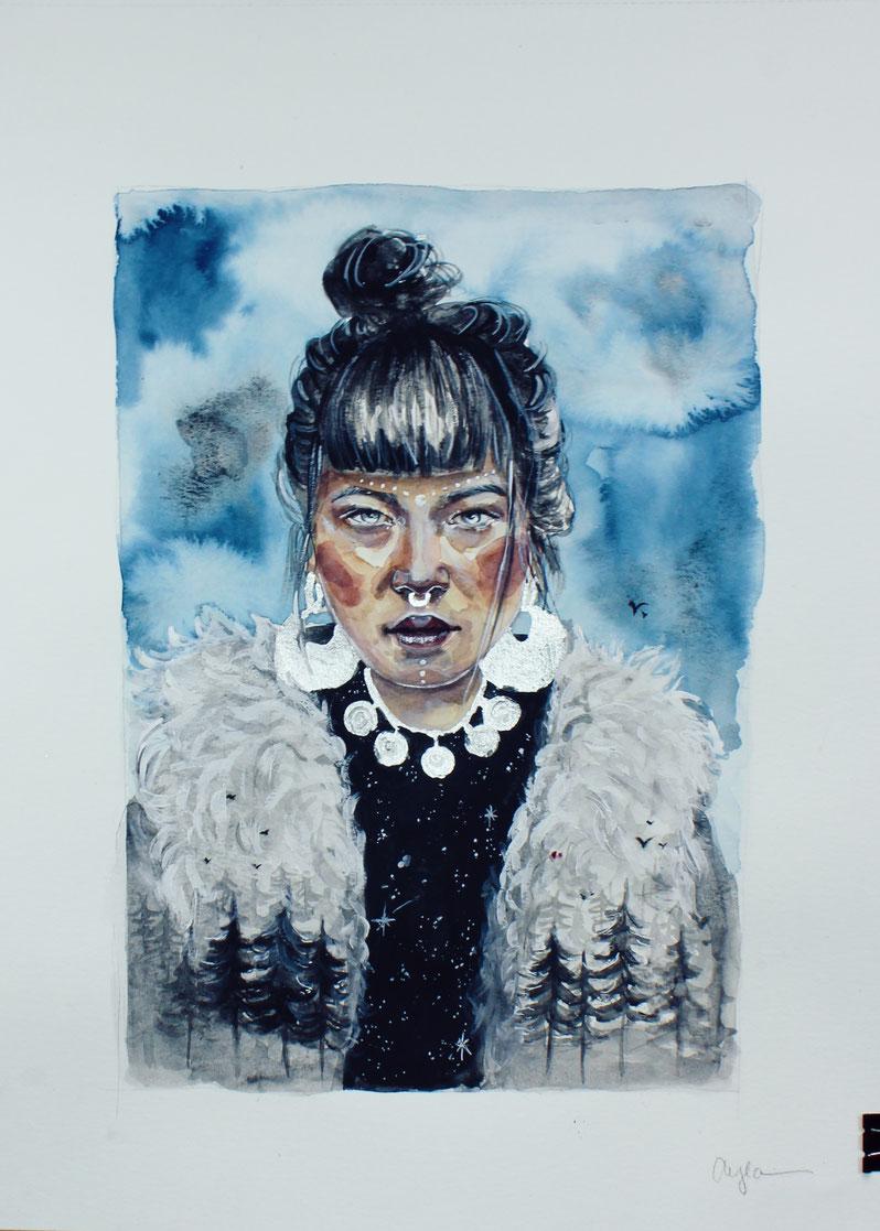 Eskimo Girl in Aquarell und Acryl Malerei , Portrait , Bäume, Galaxy , Blattsilber © Ayla Phoenix Art