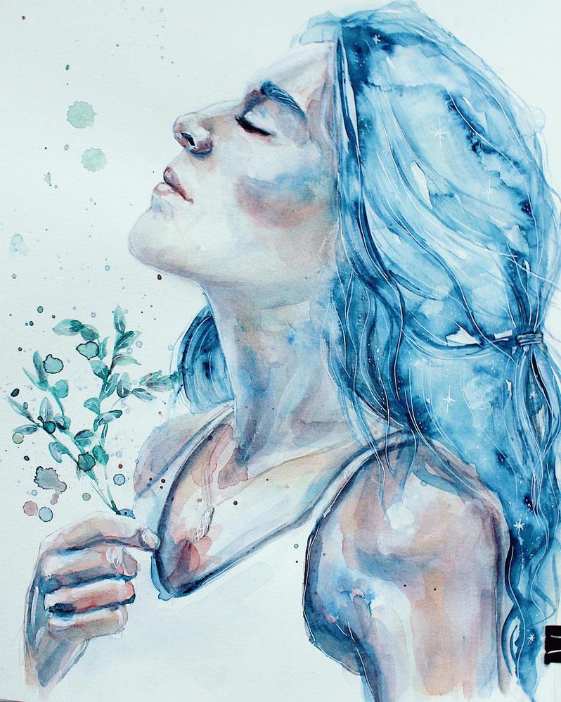 Aquarell und Acryl Portrait von Jonna Jinton mit Pflanzen © Ayla Phoenix Art