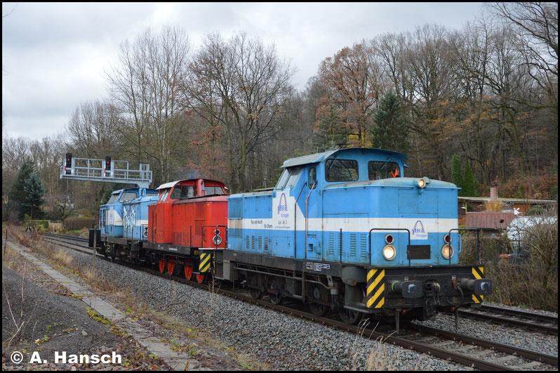 Auf der KBS 525 entstanden weitere Aufnahmen. Lok 3 führte den Zug nun, wie erwartet, an