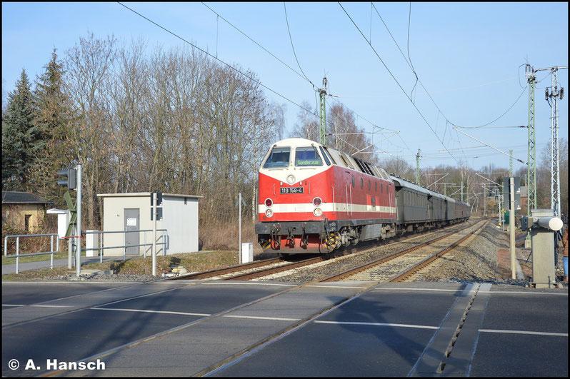 Am ehemaligen Abzweig Furth, kurz vor Chemnitz Hbf. wurde der Zug erstmals erwartet