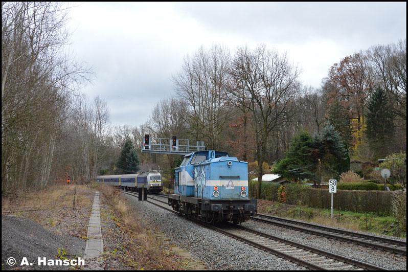 Wenig später verlässt der Zug Chemnitz wieder in Richtung Burgstädt