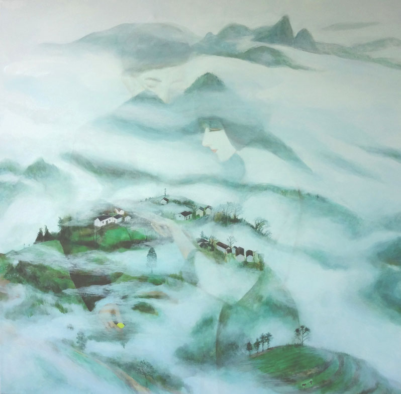 "Cloud Dream, Oil on Canvas, 30""x30"", / 雲夢,布面油畫,76cm x76cm, 2015"